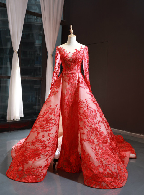 Red Tulle Lace Appliques Long Sleeve Prom Dress With Train