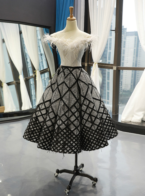 Black White Ball Gown Lace Sequins Tea Length Prom Dress