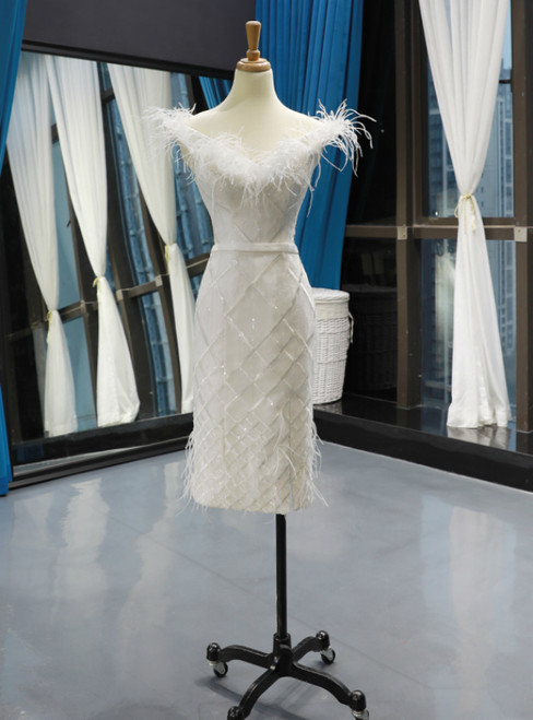 White Mermaid Off the Shoulder Short Prom Dress With Feather