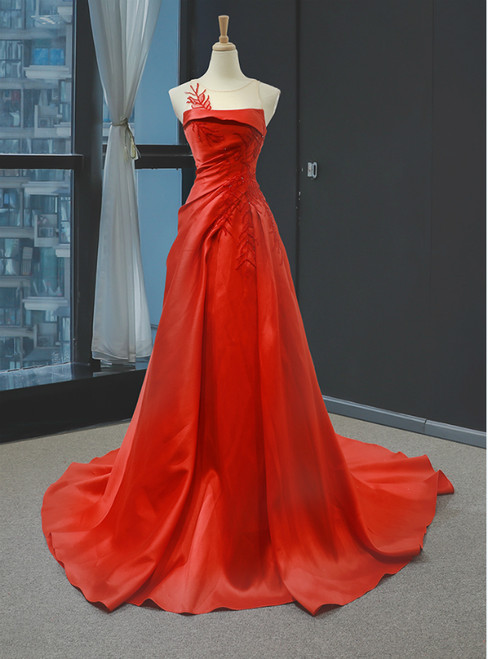 A-Line Red Satin Pleats Beading Backless Long Prom Dress