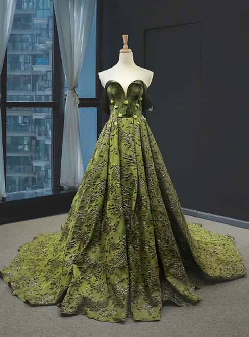 Green Off the Shoulder Velvet Embrodiery Appliques Prom Dress