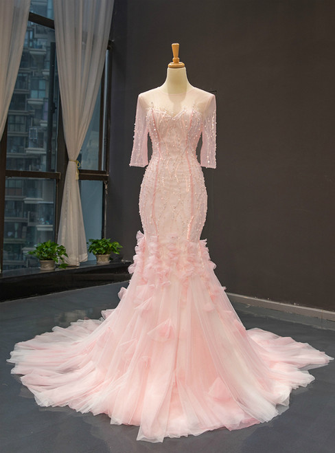 Pink Mermaid Long Sleeve Backless Beading Sequins Prom Dress
