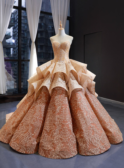 Champagne Ball Gown Sweetheart Appliques Lace Luxury Prom Dress