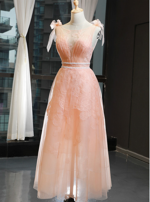 A-Line Orange Tulle Appliques Bateau Pleats Prom Dress With Beading