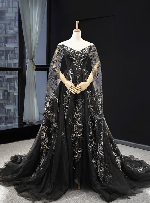 Black Ball Gown Tulle Off the Shoulder Long Sleeve Prom Dress With Appliques