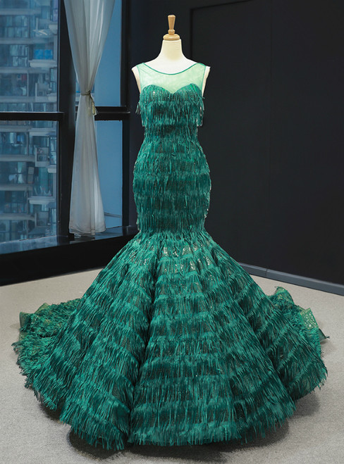 Green Mermaid Sequins Tassel Backless Prom Dress With Long Train