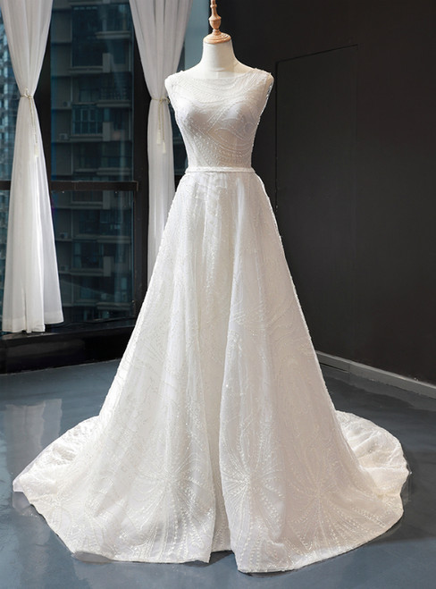 A-Line White Tulle Backless Sexy See Through Wedding Dress With Beading