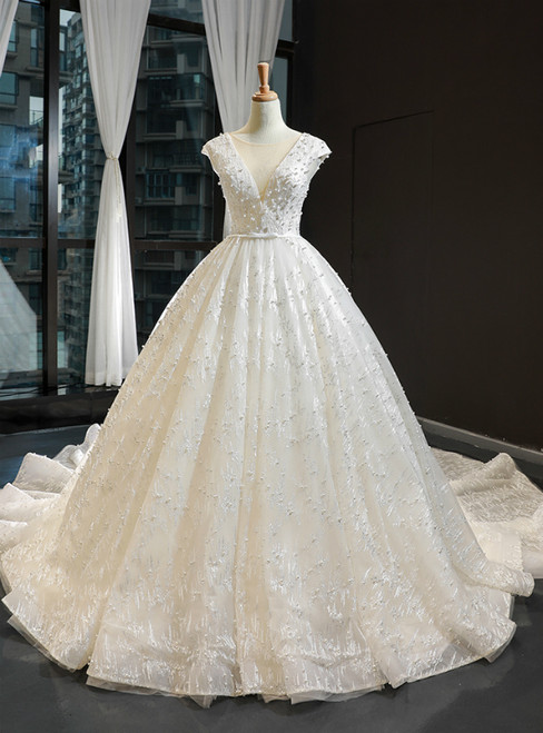 Ivory White Ball Gown Tulle Appliques Backless Cap Sleeve Luxury Wedding Dress With Pearls