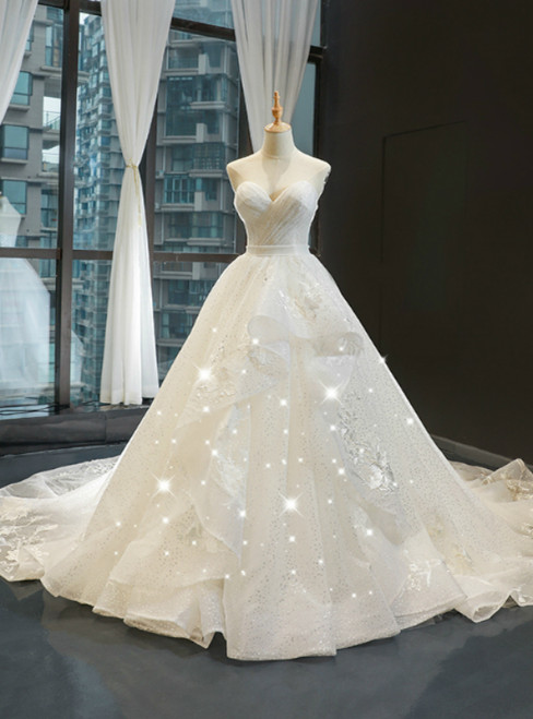 White Tulle Sequins Sweetheart Pleats Wedding Dress With Train