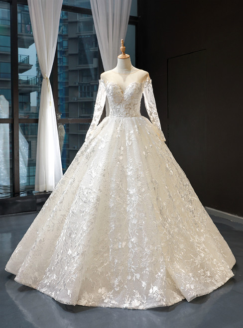 Ivory White Ball Gown Sequins Appliuqes Long Sleeve Backless Wedding Dress