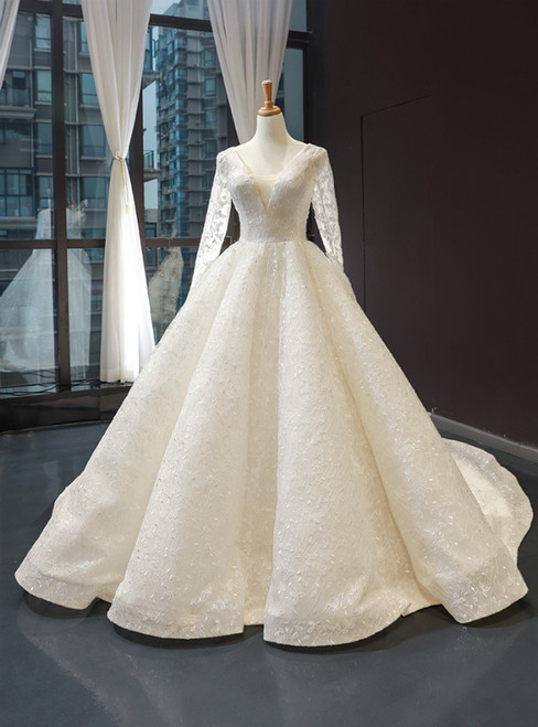 Ivory Ball Gown V-neck Long Sleeve Appliques Backless Wedding Dress