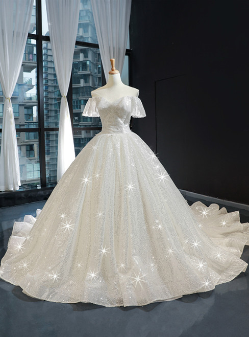 Ivory White Tulle Sequins Off the Shoulder Appliques Luxury Wedding Dress With Train