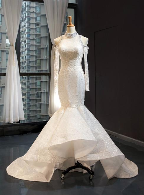 Ivory White Tulle Sequins Mermaid Long Sleeve Backless High Neck Wedding Dress