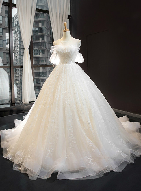 Ivory White Tulle Backless Appliques Wedding Dress With Train