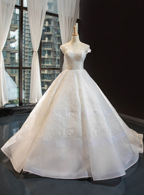 White Ball Gown Tulle Lace Cap Sleeve Luxury Wedding Dress