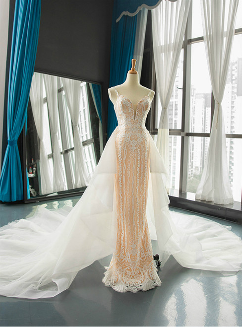 Champagne Mermaid Lace White Tulle Spaghetti Straps Wedding Dress With Removable Train