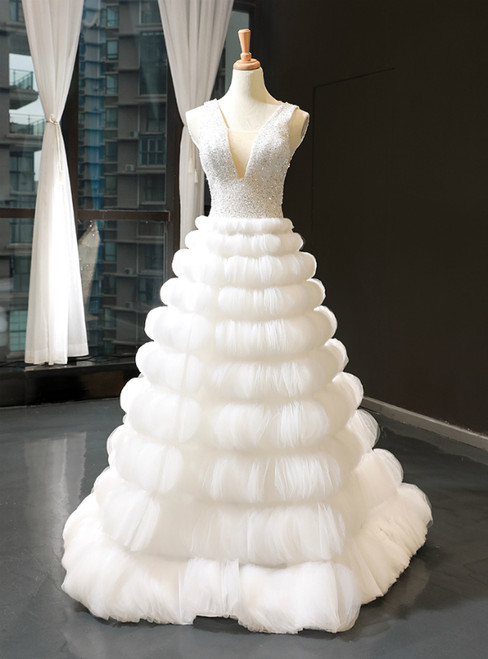 White Ball Gown V-neck Backless Tulle Beading Sequins Floor Length Wedding Dress