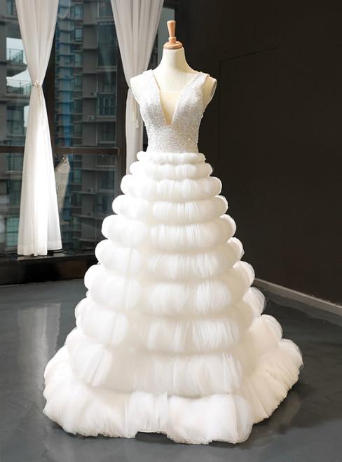 White Ball Gown V-neck Backless Tulle Beading Sequins Floor Length Wedding Dress