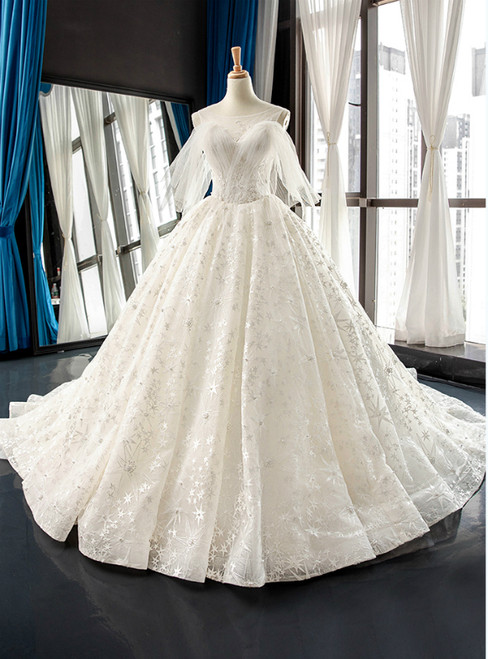 White Ball Gown Tulle Star Embrodiery Lace Backless Wedding Dress
