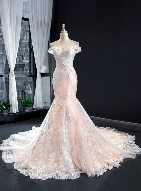 Champagne Mermaid Tulle Appliques Off the Shoulder Wedding Dress With Train