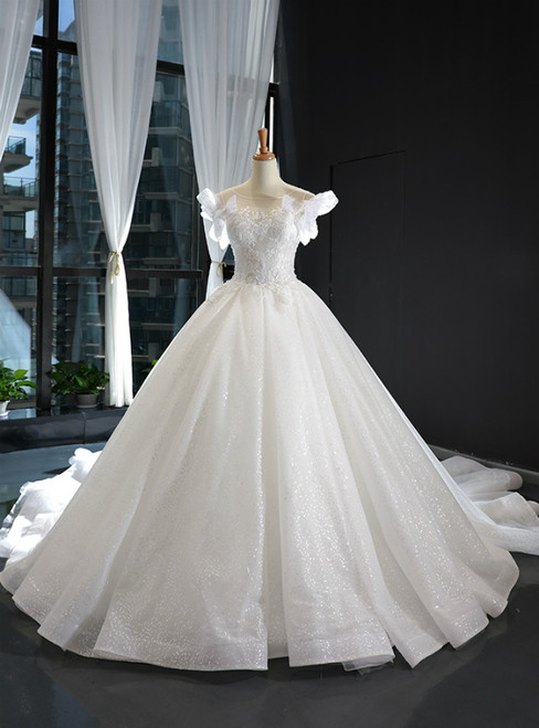 White Ball Gown Tulle Sequins Appliques Backless Wedding Dress