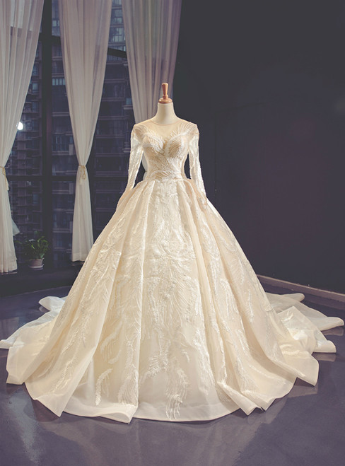 Champagne Tulle Appliques Long Sleeve Luxury Wedding Dress