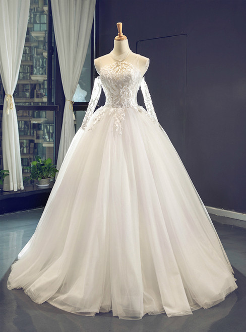 White Ball Gown Tulle Lace Appliques High Neck Wedding Dress
