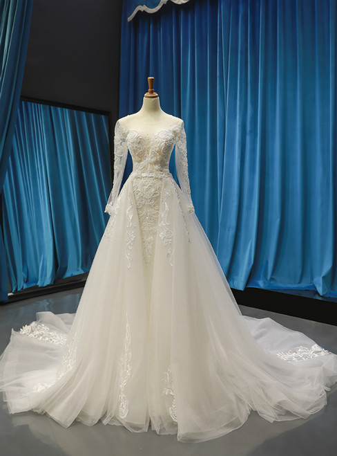 Ivory White Tulle Mermaid Appliques Beading Sequins Long Sleeve Wedding Dress With Removable Train