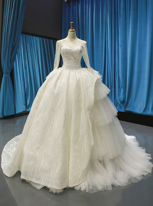Ivory White Tulle Lace Bateau Long Sleeve Wedding Dress With Litter Train