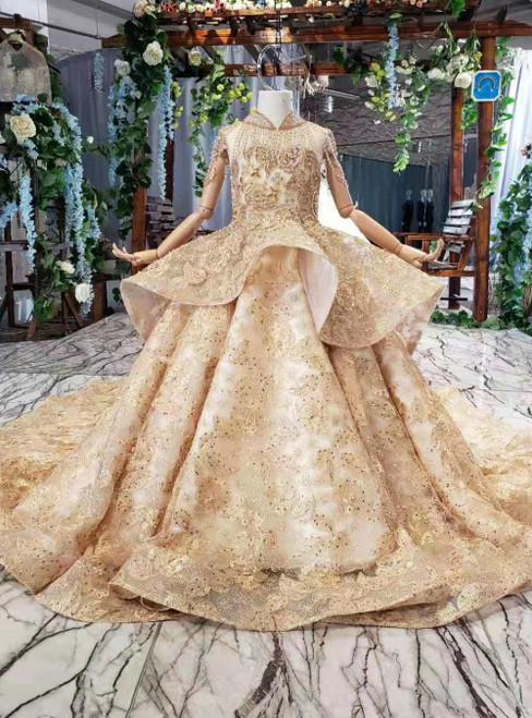 Champagne Gold Tulle Appliques High Neck Cap Sleeve Luxury Flower Girl Dress