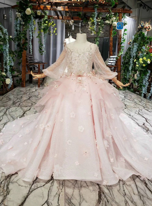 Pink Ball Gown Tulle Lace Long Sleeve Backless Flower Girl Dress With Beading