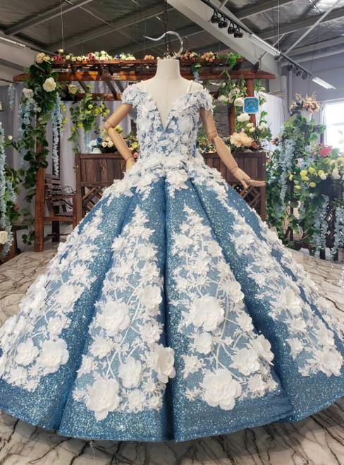 Blue Ball Gown Sequins Off the Shoulder Appliques Flower Girl Dress