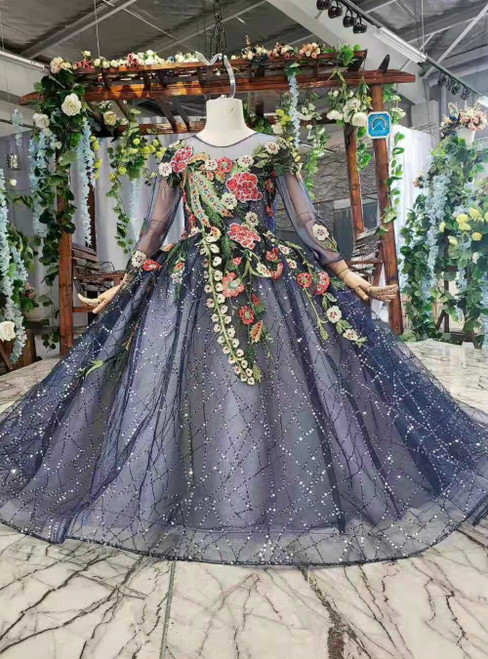 Navy Blue Tulle Sequins Long Sleeve Backless Embroidery Appliques Flower Girl Dress