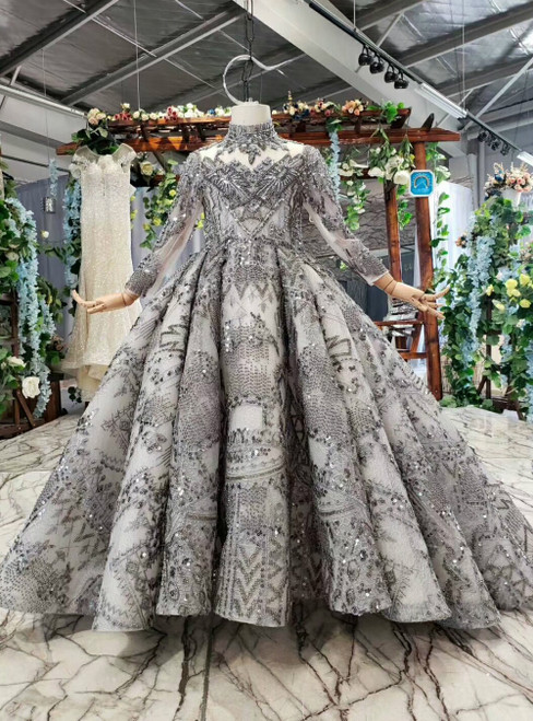 Dark Gray Tulle Lace High Neck Long Sleeve Backless Flower Girl Dress With Beading Sequins