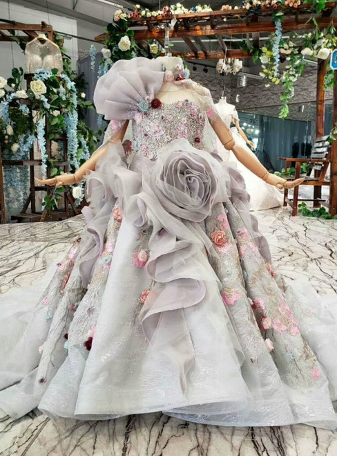 Gray Ball Gown Tulle 3D Flower Beading Sequins Flower Girl Dress With Shawl