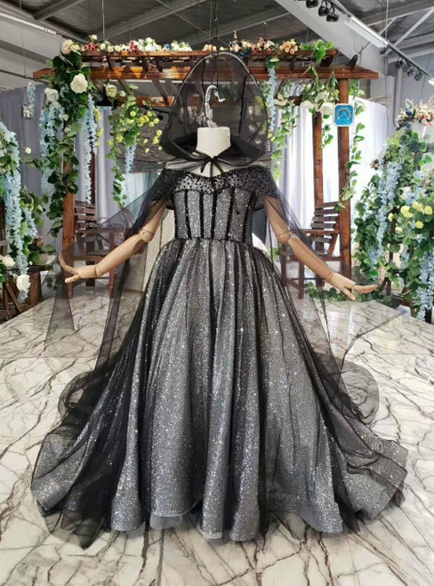 Black Tulle Sequins Off the Shoulder Flower Girl Dress With Shawl
