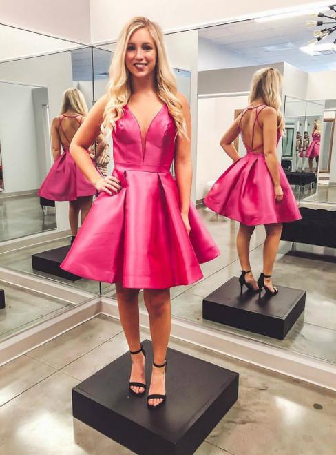 A-Line Rose Color V-neck Backless Satin Homecoming Dress