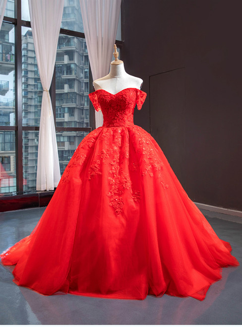 Red Ball Gown Tulle Appliques Off the Shoulder Beading Prom Dress