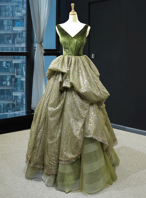 Green Ball Gown Sequins V-neck Backless Luxury Prom Dress