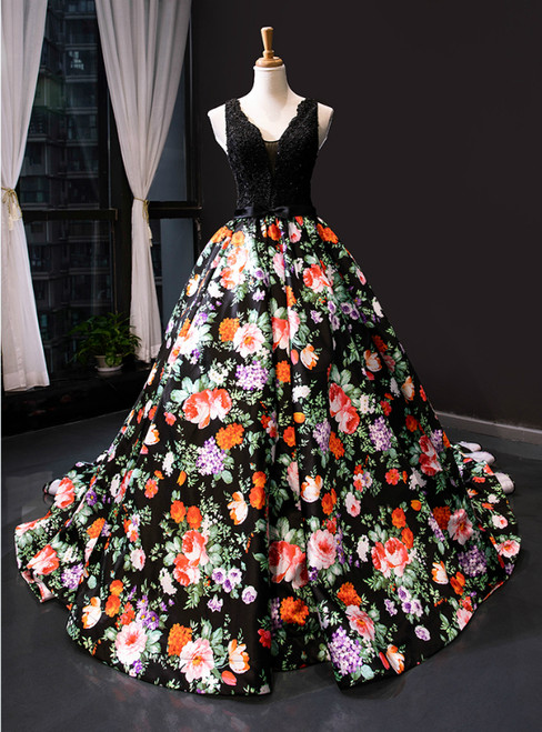 Black Ball Gown Satin Lace Print V-neck Prom Dress With Beading