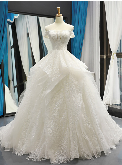 White Ball Gown Tulle Sequins Off the Shoulder Luxury Wedding Dress With Beading