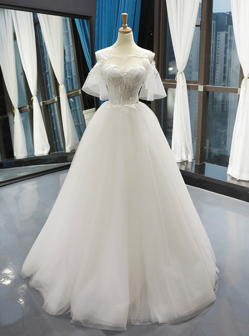 White Tulle Appliques Cold Shoulder Backless Floor Length Wedding Dress