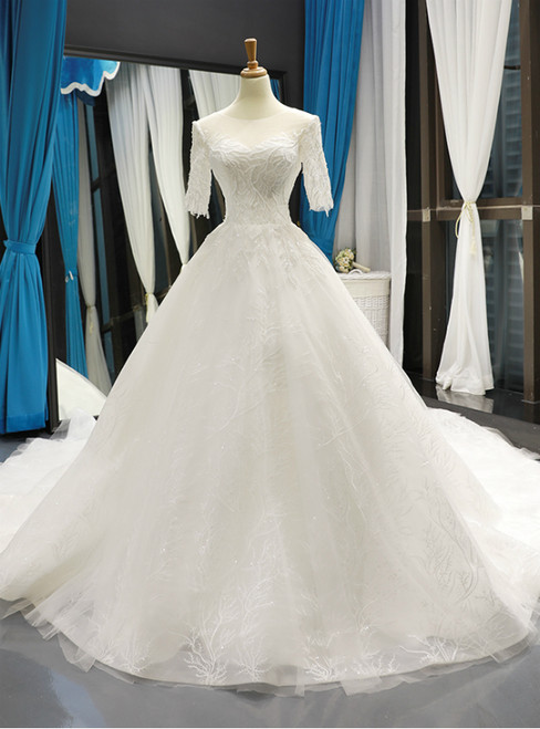 White Ball Gown Tulle Short Sleeve Backless Wedding Dress With Beading