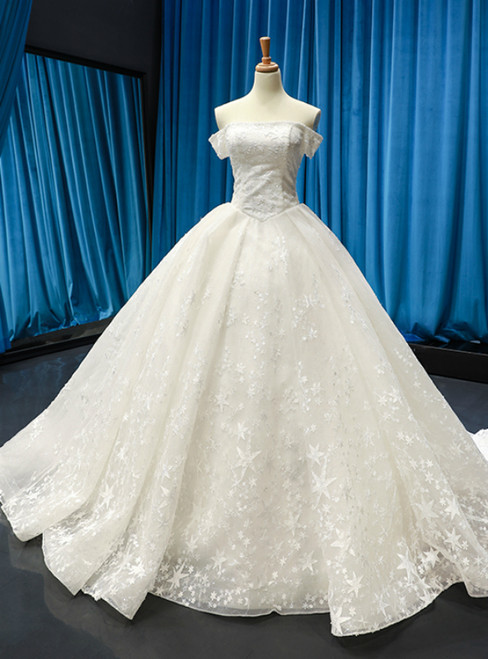 White Ball Gown Tulle Embroidery Off the Shoulder Wedding Dress