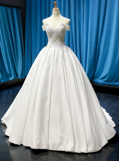 White Ball Gown Satin Off the Shoulder Wedding Dress With Beading