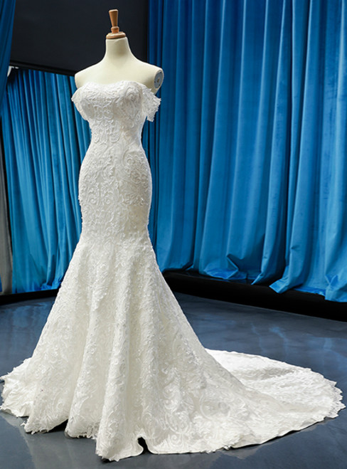 White Memaid Tulle Lace Appliques Off the Shoulder Wedding Dress