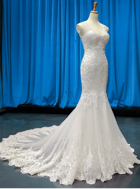 Sexy White Mermaid Tulle Lace Appliques V-neck Wedding Dress