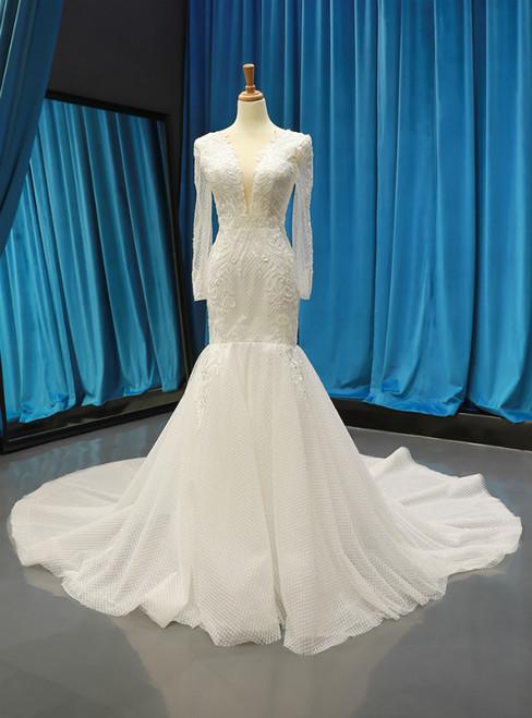 White Memraid Tulle Appliques Deep V-neck Long Sleeve Backless Wedding Dress