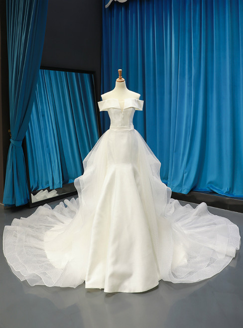 White Satin Tulle Off the Shoulder Wedding Dress With Long Train