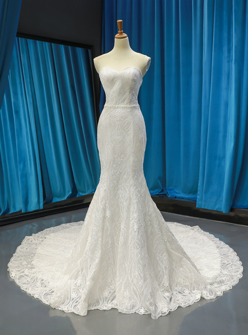 White Sheath Mermaid Tulle Lace Backless Wedding Dress